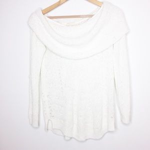 Moth Anthropologie ivory sweater off the shoulder
